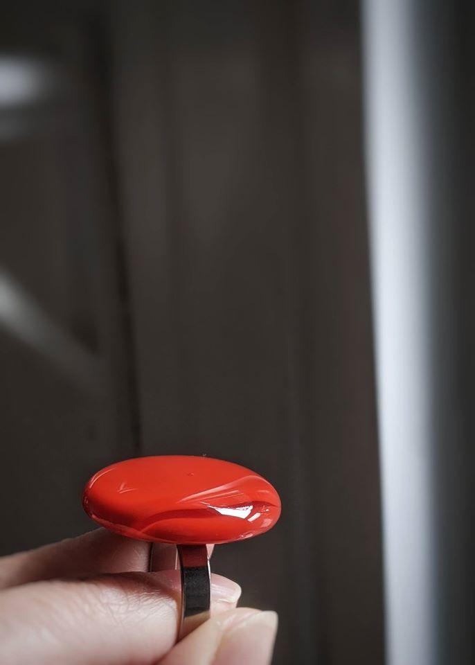 Deep orange glass round ring handmade Montreal design Jewelry
