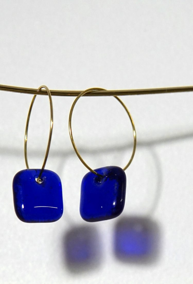 MELA small Blue glass fused earrings light minimlaist jewelry Montreal