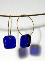 MÉLA bijoux Montréal Petites Boucles d'oreilles verre bleu royal anneaux inox