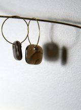 MELA fused glass jewelry handmade montreal square earrings sand color