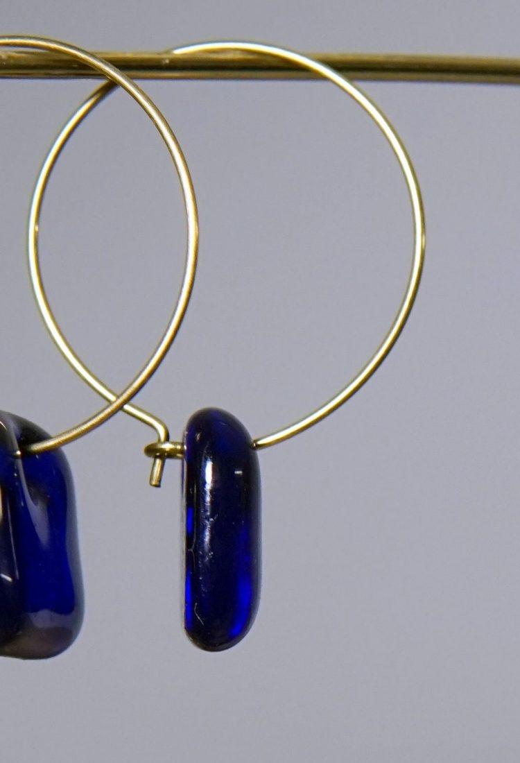 Boucles oreilles MÉLA Montréal Bijoux légers et simples Bleus Verre fait main