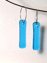 Boucles d'oreilles pendantes longues verre turquoise fait main MÉLA Montréal