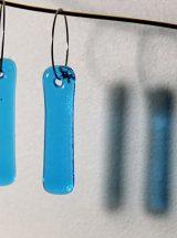 Boucles d'oreilles de verre fait main Longues gouttes turquoises minimaliste Montréal